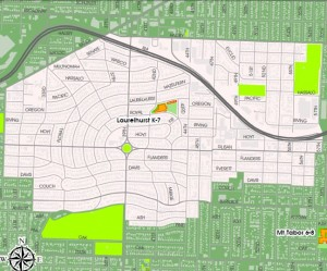 Map of Portland Oregon Laurelhurst school district