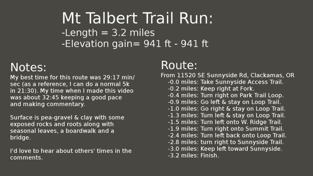 Directions & Notes: Portland Mount Talbert Trail Run