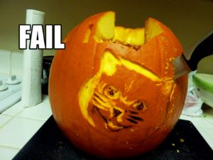 Cat Pumpkin Carving Fail